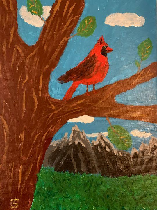Cardinal overlooking the rockies - Jonathan Golden