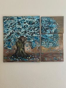 Abstract tree in blue