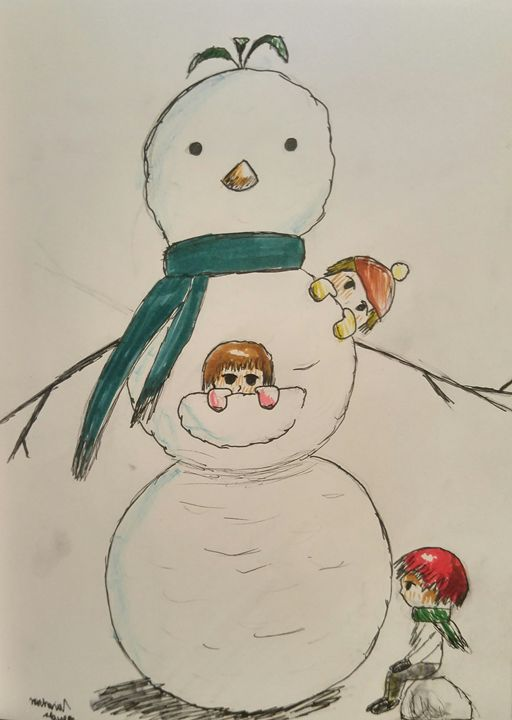 Chibis and Snowman - Slawson