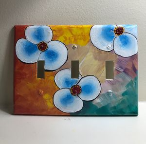 Hand painting on outlet cover plate