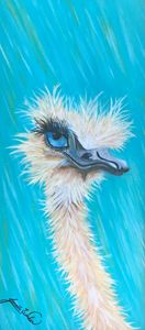 Oil & Acrylic Painting of Ostrich