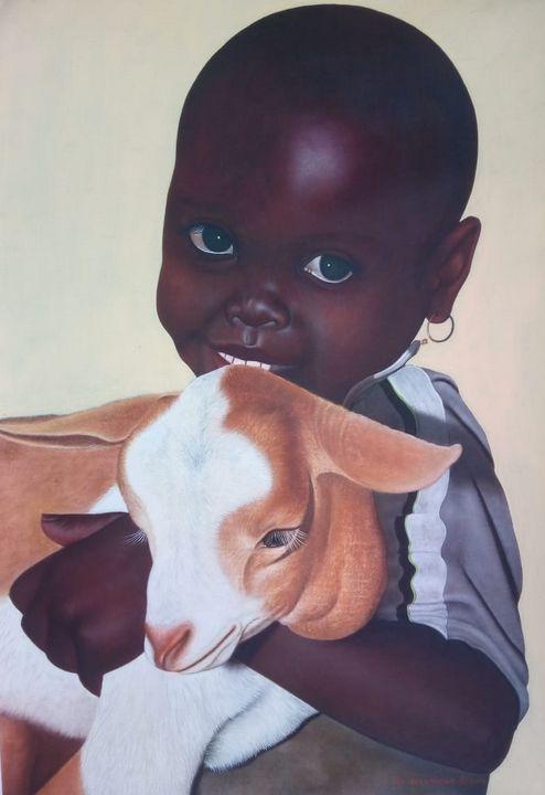 Kenyan Boy With Goat - African Oils Online
