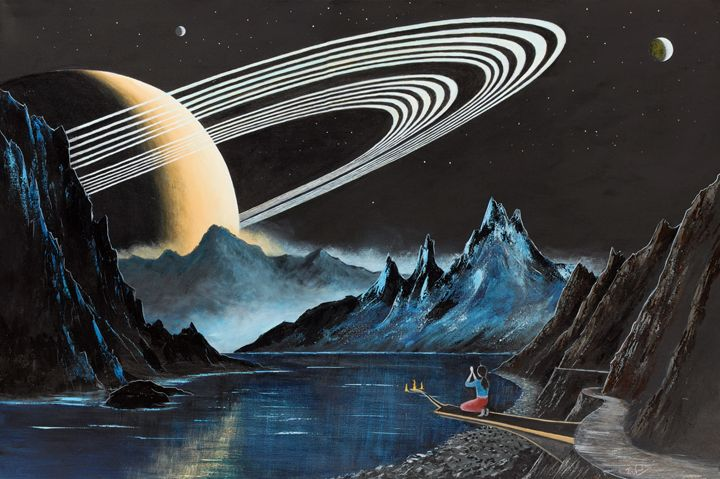 On the Moon of a Ringed Exoplanet-2 - Landscape & Space Art of Suresh N C