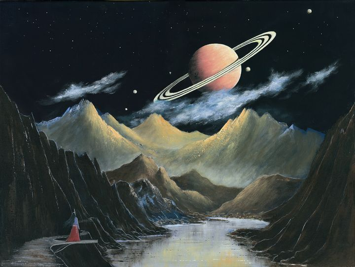 Rise of a Ringed Planet & Moons - Landscape & Space Art of Suresh N C