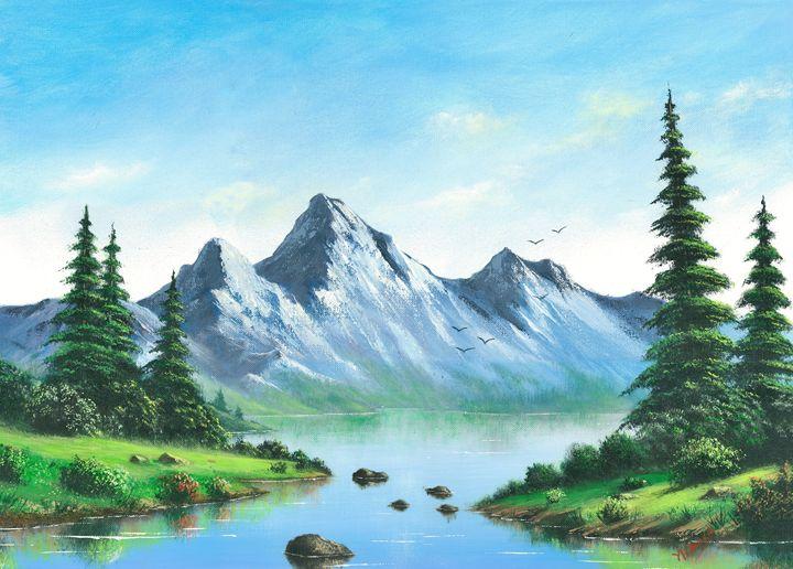 Mountain Lake - Landscape & Space Art of Suresh N C