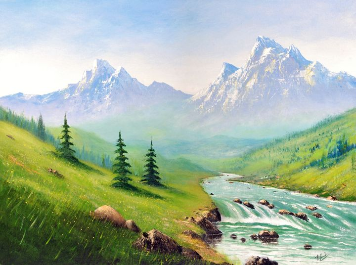 Mountain Stream - Landscape & Space Art of Suresh N C