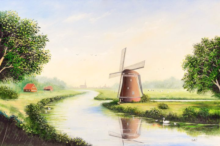 A Windmill Outside Town - Landscape & Space Art of Suresh N C
