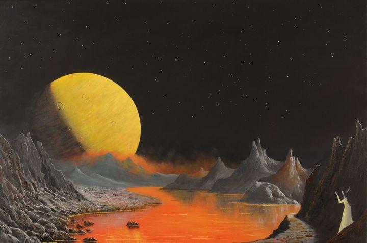 Moonrise on an Exoplanet - Landscape & Space Art of Suresh N C