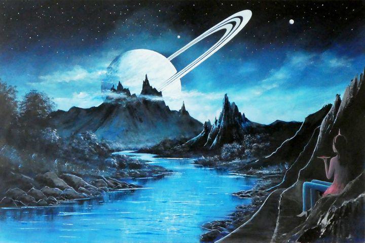 Evening On An Exomoon - Landscape & Space Art of Suresh N C