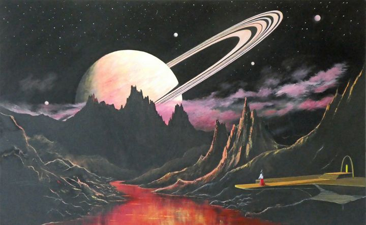 Rise Of A Ringed Exoplanet - Landscape & Space Art of Suresh N C