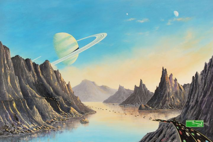 On the Moon of a Ringed Exoplanet - Landscape & Space Art of Suresh N C