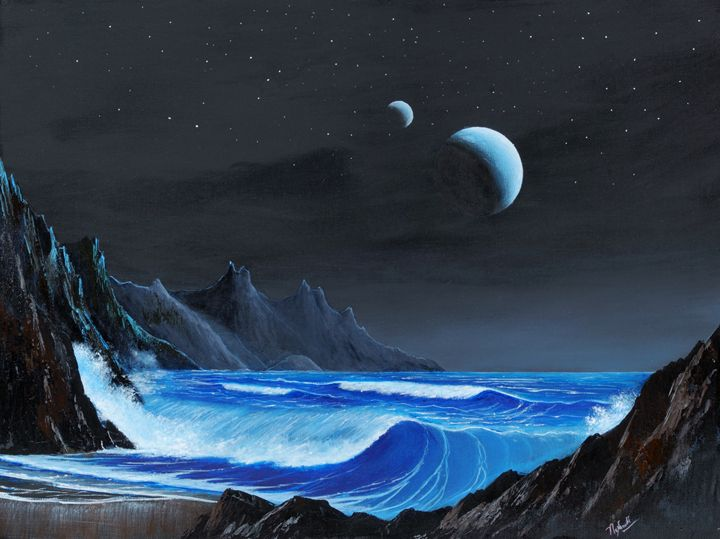 Seashore on an Exomoon - Landscape & Space Art of Suresh N C