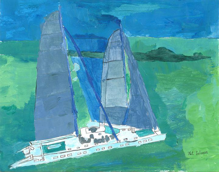 Sleek Catamaran - Nat Solomon's Paintings and Photography