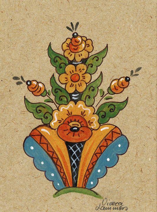 Swedish Kurbits Card - Viveca Lammers
