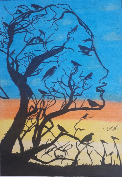 Tree and Birds - Artist Huma
