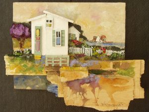 A1 White Cottage & Passing sailboat