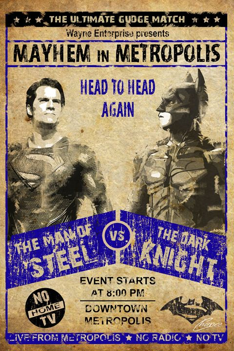 Batman Vs. Superman Wrestling Poster - Graphic Element