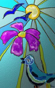 Bird, flower and Sun