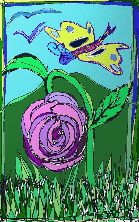 Butterfly and Flower - Raine Carosin