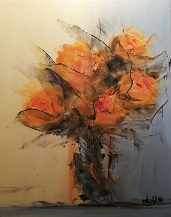 Flowers, oil on canvas, 30x35, 2019 - Anita Kunic