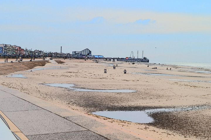 Blackpool big dipper, beach and pier - Timawells