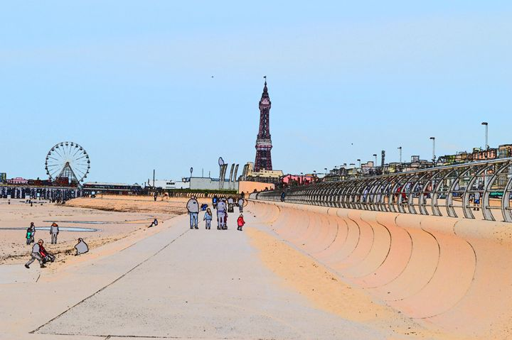 Blackpool tower, wheel and promenade - Timawells