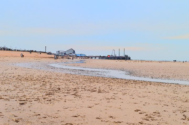 Blackpool beach, big dipper and pier - Timawells