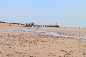 Blackpool beach, big dipper and pier