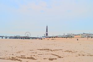 Blackpool beach, pier, wheel & tower