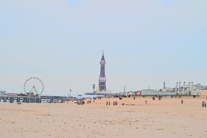 Blackpool tower, wheel and beach - Timawells