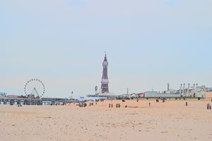 Blackpool tower, wheel and beach