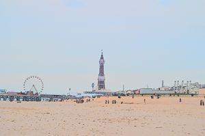 Blackpool tower, wheel and beach