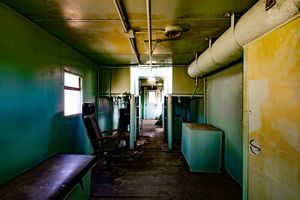 Interior of an abandoned rail caboos