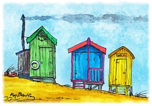 Beach Huts - making smoke