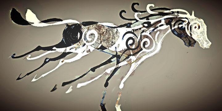 free wheeling - little white poodle art