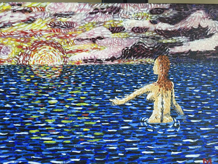 Bather in Ocean - M.Y. Art Studios