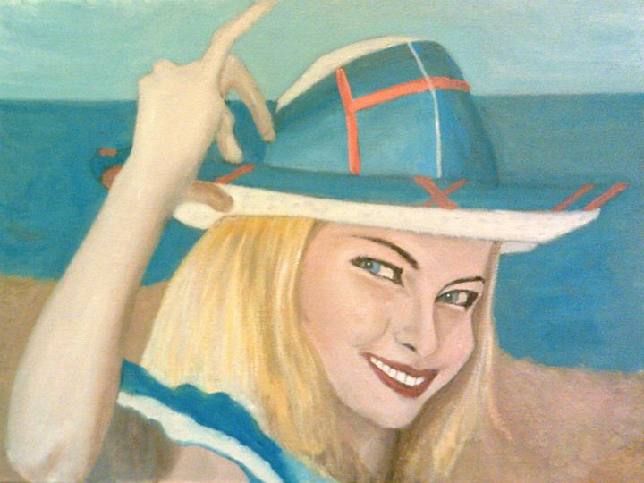 The Pretty Blonde Holds Her Hat Down - Peterpaints