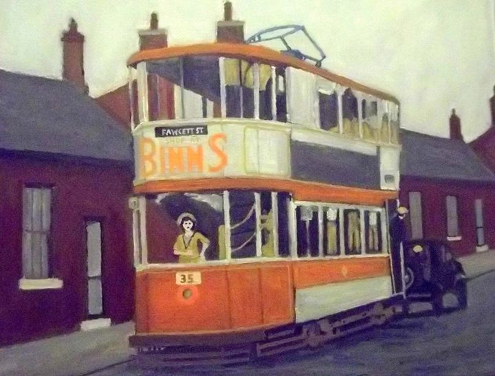 Sunderland Tram With Woman Driver - Peterpaints