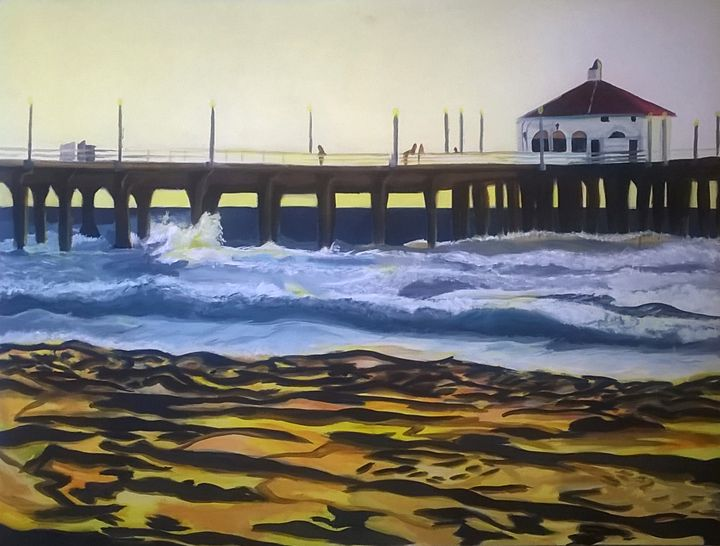 Manhattan Beach Pier - Ocean Paintings