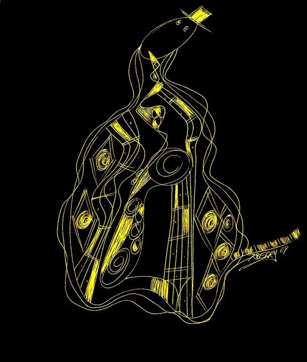 Whimsical Golden Jazz Man - JazzXpressionstudio Art
