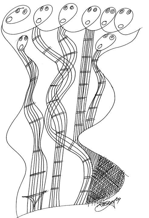 Whimsical Six Head Jazz Sensation - JazzXpressionstudio Art