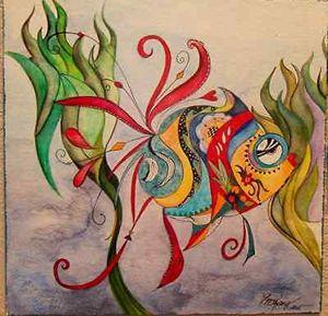 Watercolor Abstract Fish - Original