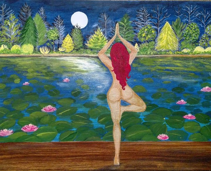Tree pose to the moon - Lisa Kwon Art
