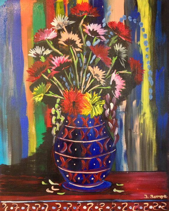 Carnations in Blue Vase - Jozsef Burge Gallery