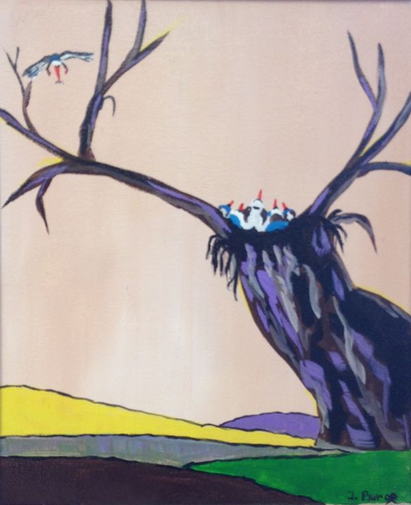 Baby Birds and Mother - Jozsef Burge Gallery