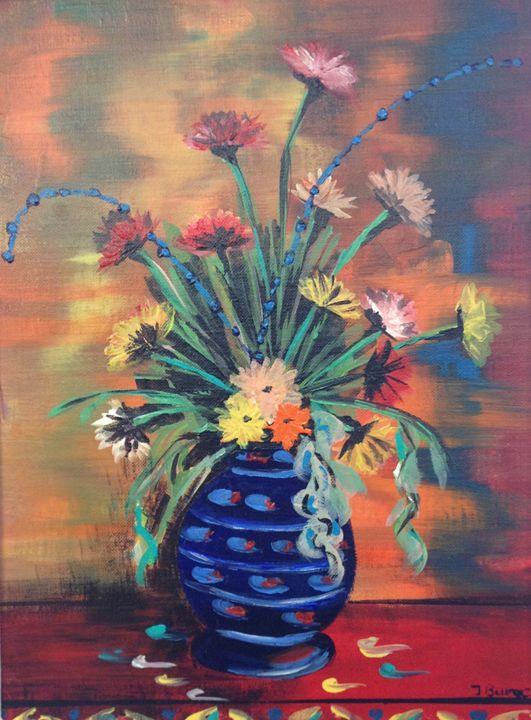 Blue Vase Colourful Flowers - Jozsef Burge Gallery