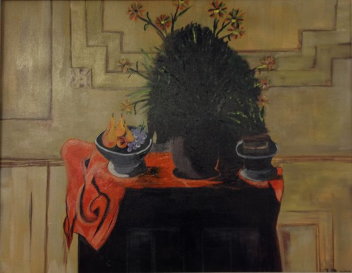 Flower on Table - Jozsef Burge Gallery