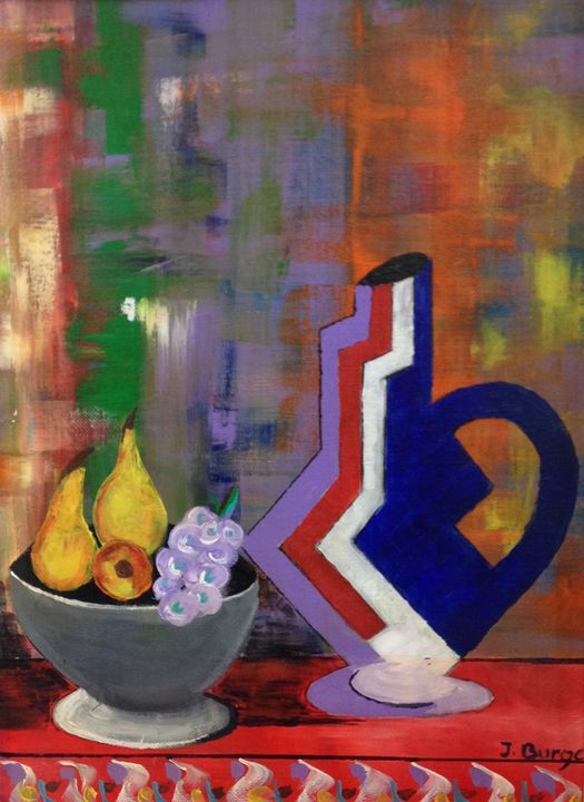 Fruit Bowl on Table - Jozsef Burge Gallery