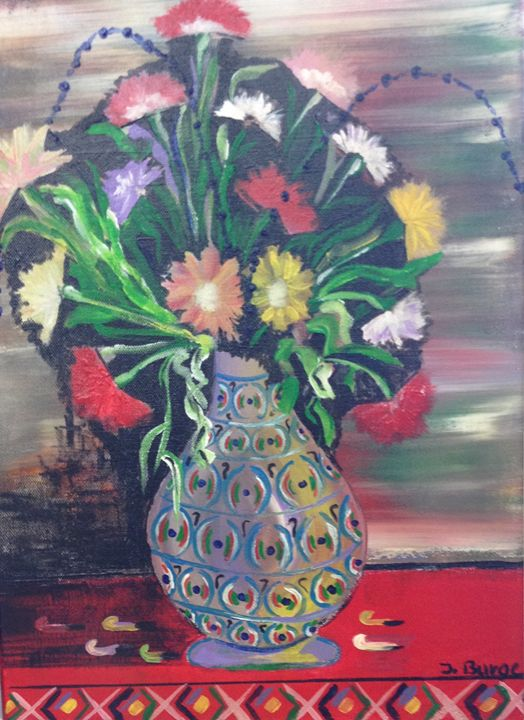 Multi Colored Vase and Flowers - Jozsef Burge Gallery