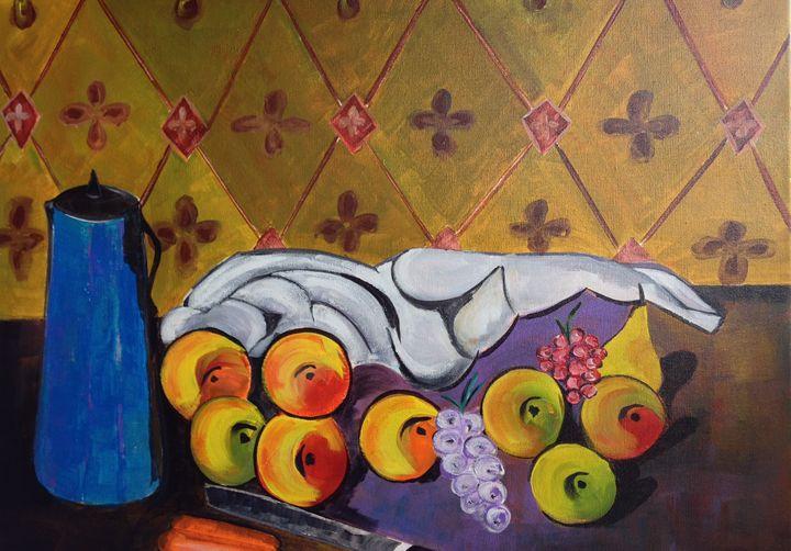 Blue Vase and Fruit - Jozsef Burge Gallery